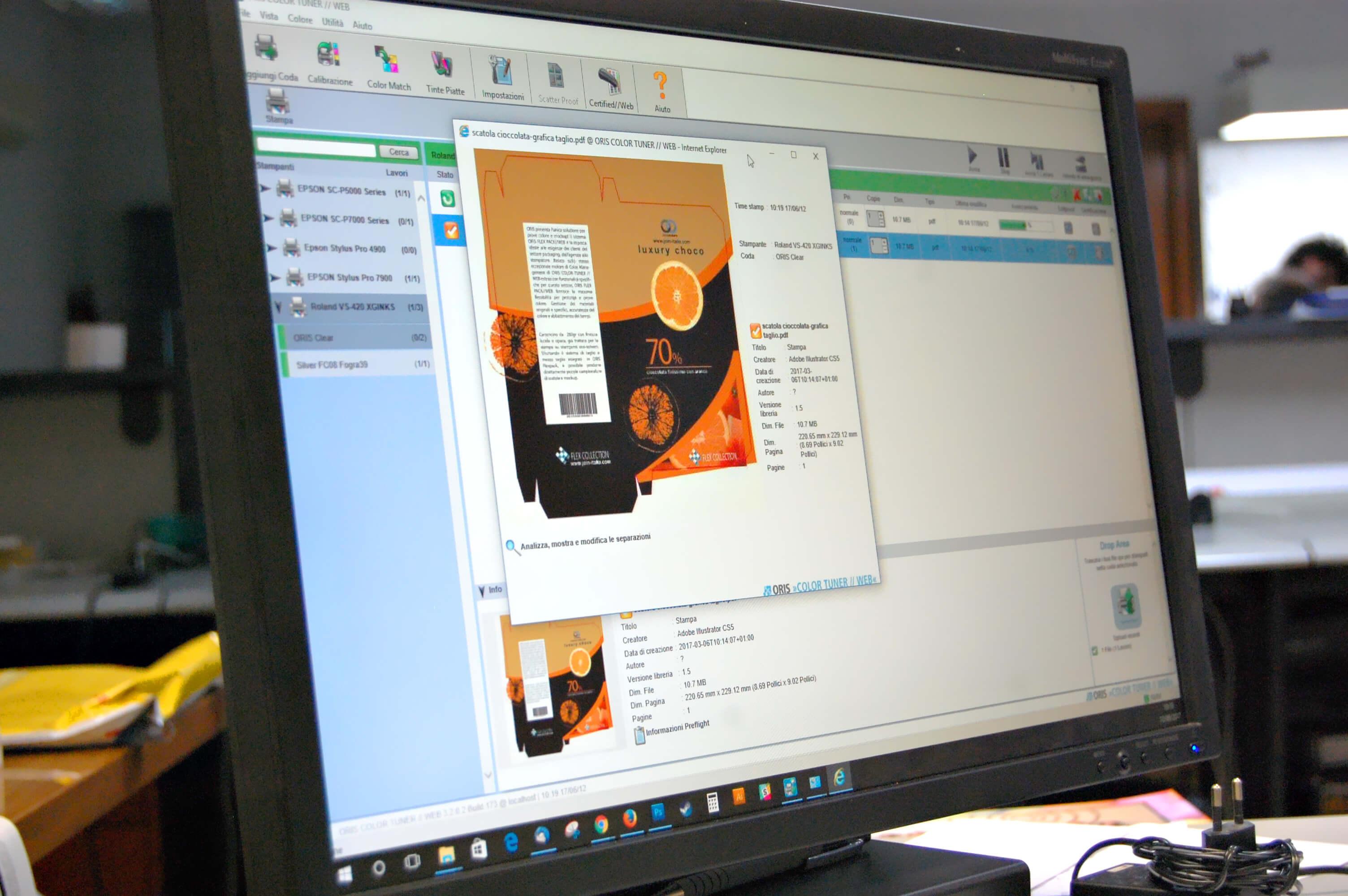 gestione del PDF - per la prova colore packaging con ORIS flexpack web