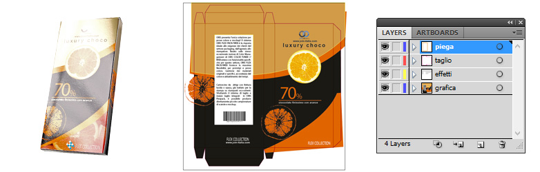 Scarica il layout packaging per una scatola di cioccolata in formato illustrator - download