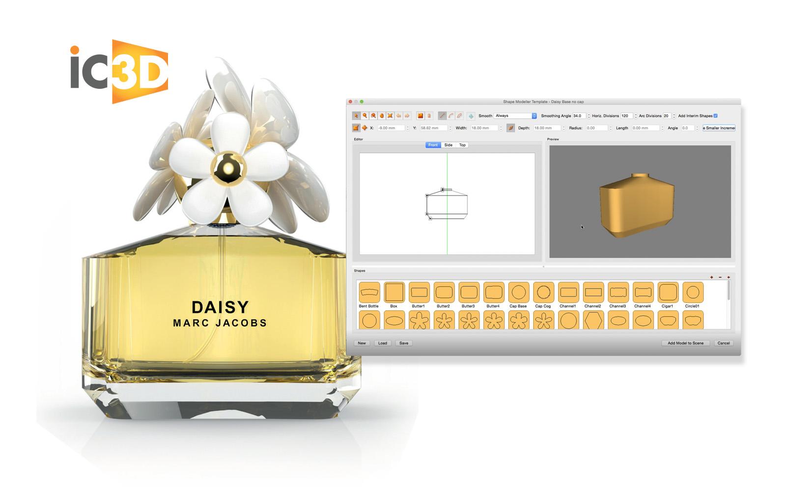 Con IC3D creare un modello 3D per il packaging di un profumo è semplice e veloce